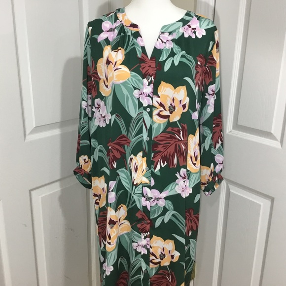 LOFT Dresses & Skirts - Ann Taylor Loft Green Floral Button Dress Size LT
